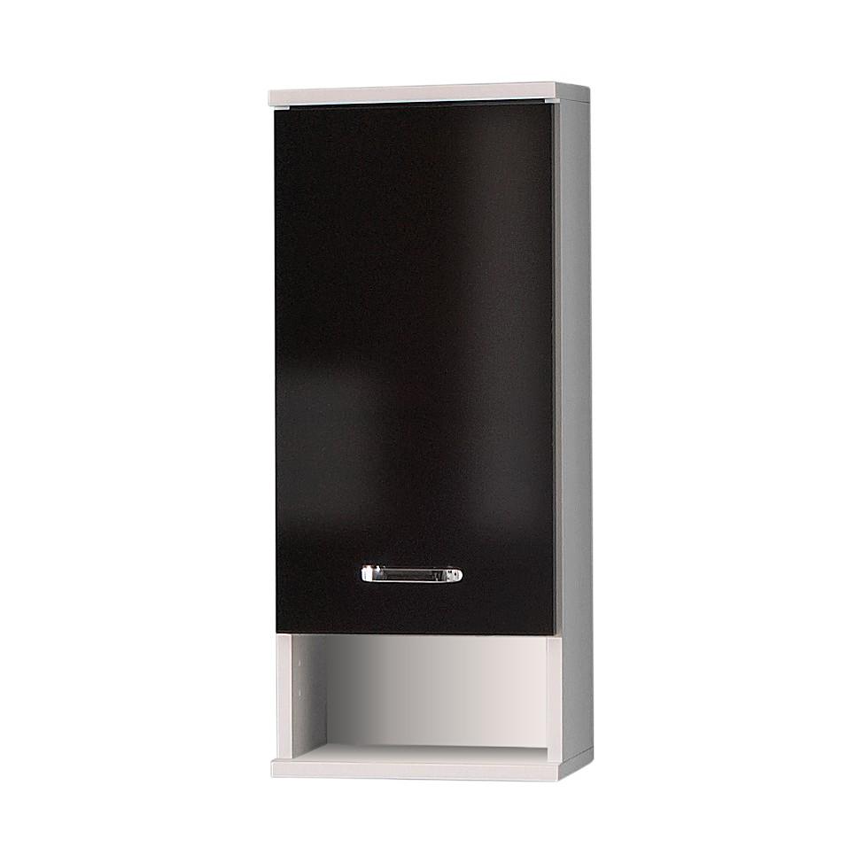 Hangkast Lugano - glanzend zwart/parelwit - 1-deurs - 32,5cm hoog, Schildmeyer