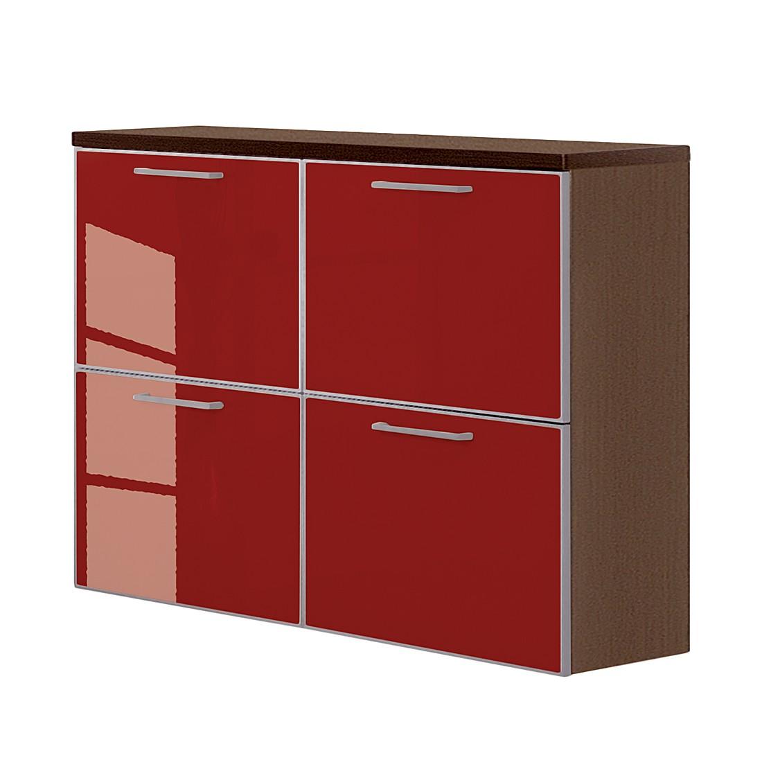 Hängeschuhschrank Sarota II – Wenge/Glas Rot, Voss jetzt bestellen
