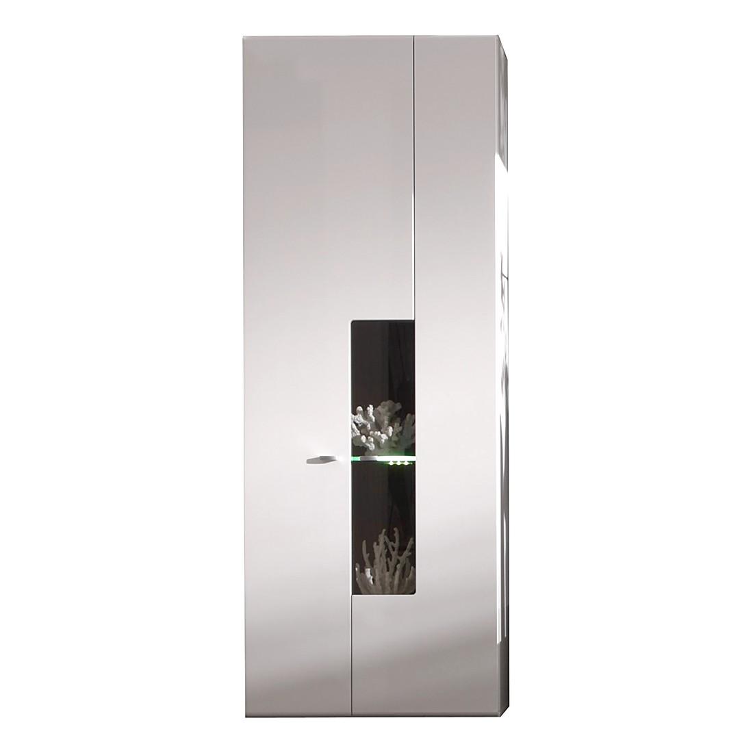 Hängevitrine Livia I (inkl. Beleuchtung) - Weiß Hochglanz (Maße: 60 x 160 x 34 cm (B/H/T))