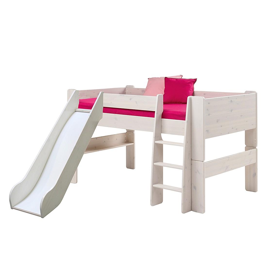 Halbhochbett Steens for Kids (mit Rutsche) – Kiefer massiv – White Wash, Steens günstig