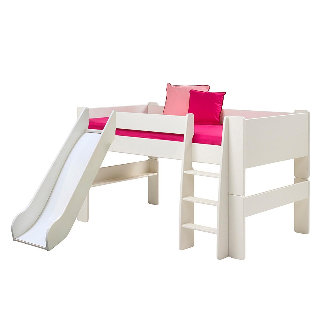 Halbhochbett Steens for Kids (mit Rutsche) - Weiß, Steens