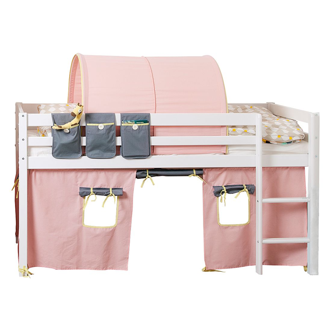 halbhochbett hit kiefer massiv textil full white pink grau mit betttaschen tunnel. Black Bedroom Furniture Sets. Home Design Ideas