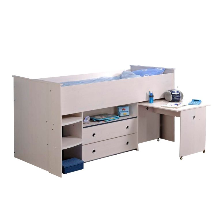 halbhochbett smoozy wei lackiert drehbare kanten rosa blau parisot meubles m bel. Black Bedroom Furniture Sets. Home Design Ideas