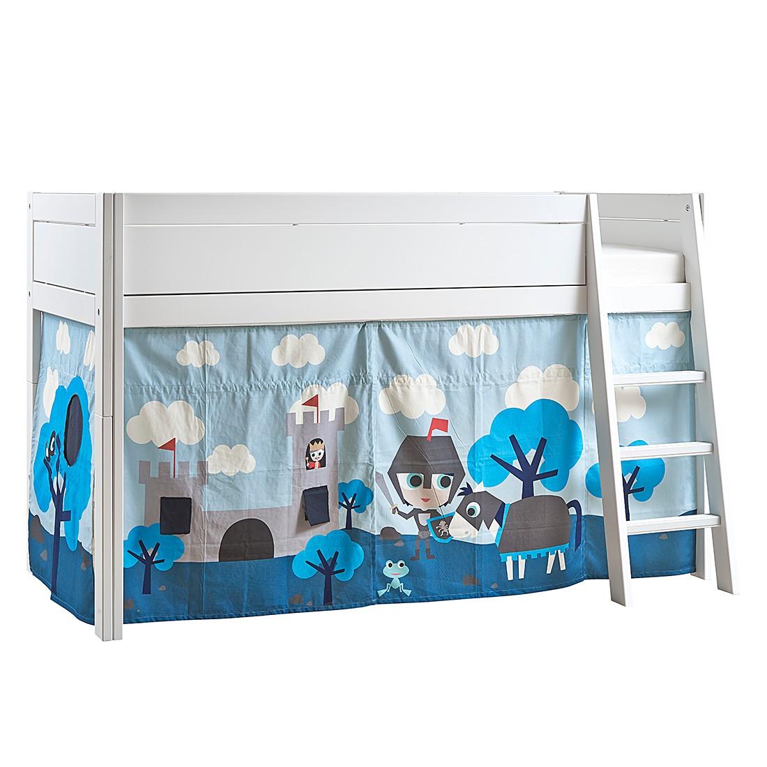 Halbhohes Bett Lifetime Original - Kiefer teilmassiv/Textil - Weiß/Blau - Mit Deluxe Lattenrost, Lifetime Kidsrooms