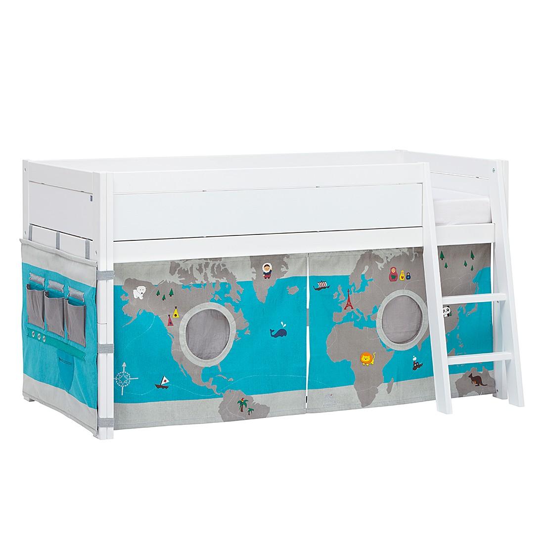 Halbhohes Bett Lifetime Original - Kiefer teilmassiv/Textil - Weiß/Bunt - Mit Deluxe Lattenrost, Lifetime Kidsrooms