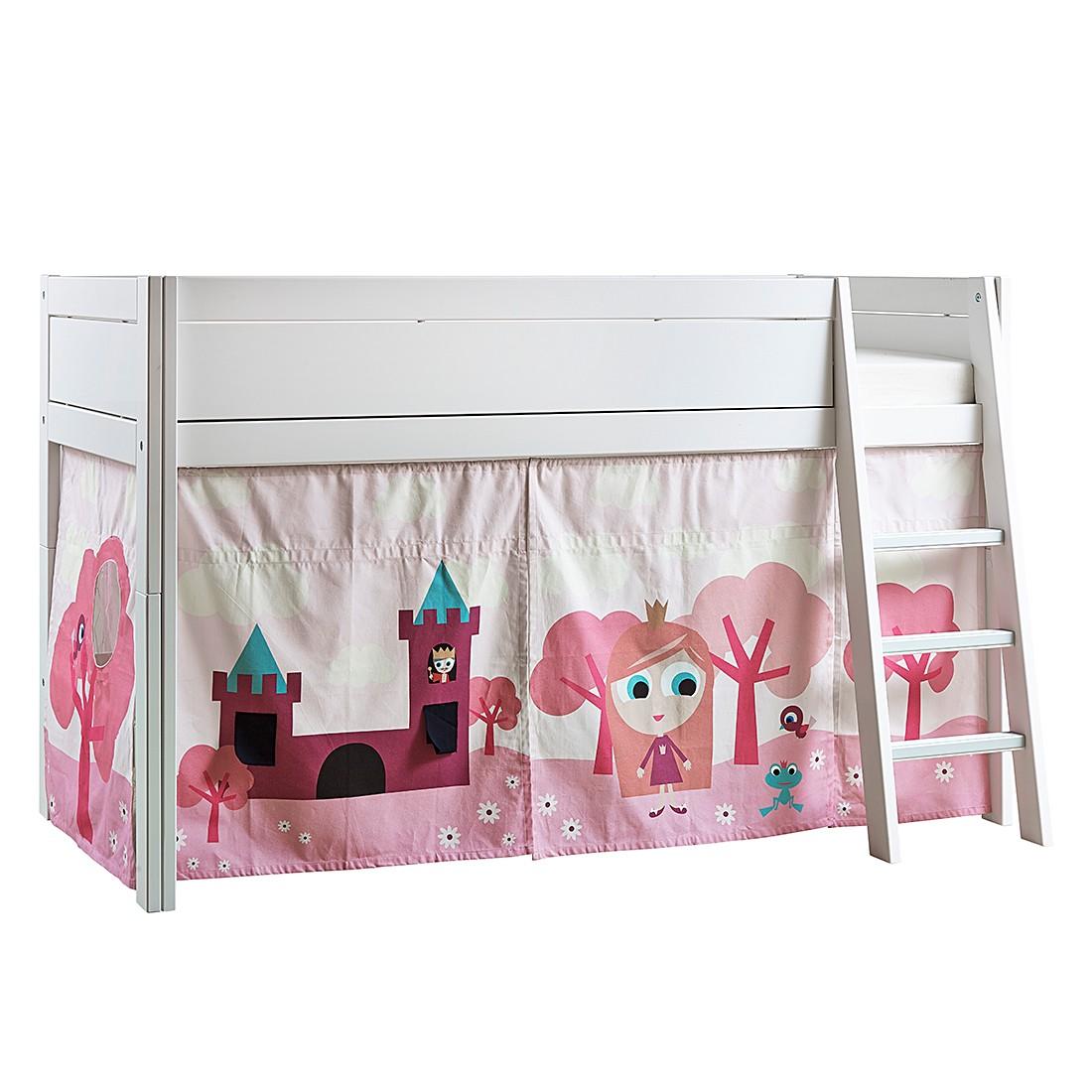 Halbhohes Bett Lifetime Original - Kiefer teilmassiv/Textil - Weiß/Rosa - Mit Deluxe Lattenrost, Lifetime Kidsrooms