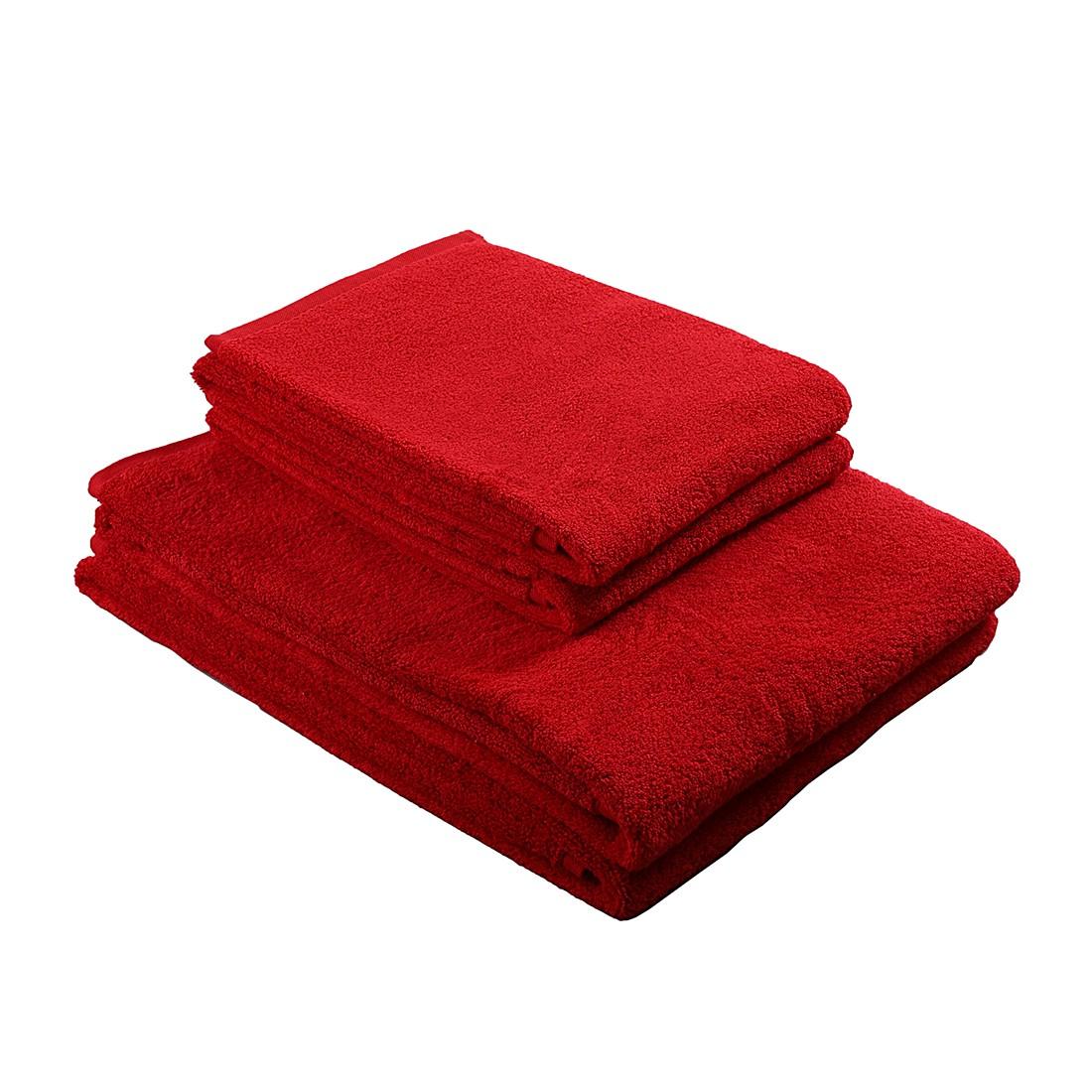Handtuch-& Badetuchset PURE (4-teilig) – 100% Baumwolle – Rot, stilana online kaufen