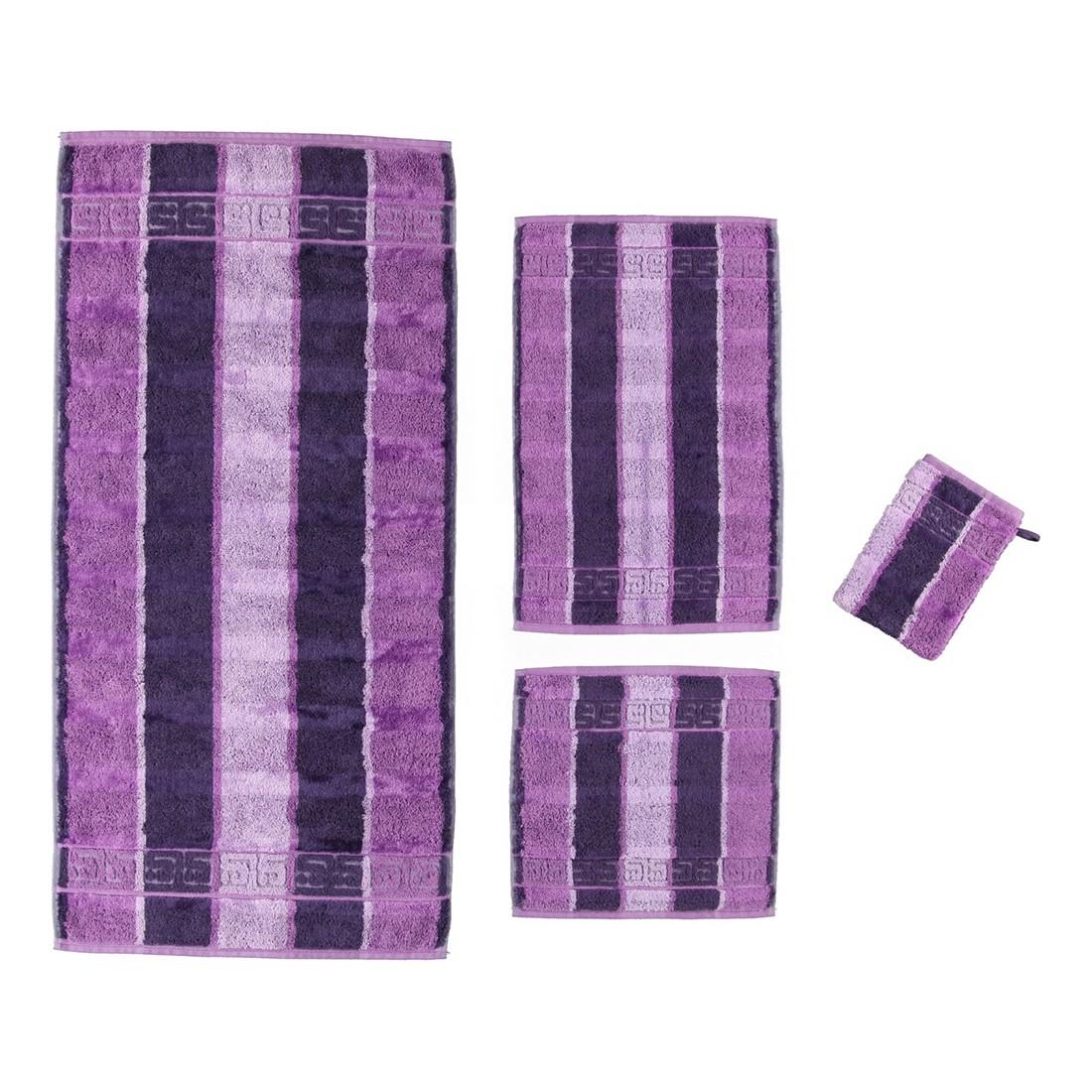 Handtuch Noblesse Streifen – 100% Baumwolle lila – 88 – Waschhandschuh: 16 x 22 cm, Cawö günstig kaufen