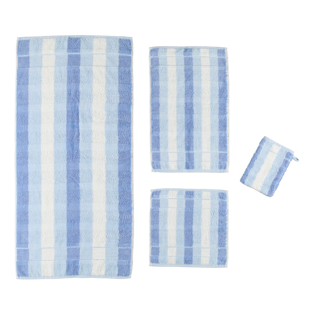 Handtuch Noblesse2 Blockstreifen – 100% Baumwolle mittelBlau – 16 – Gästetuch: 30 x 50 cm, Cawö kaufen