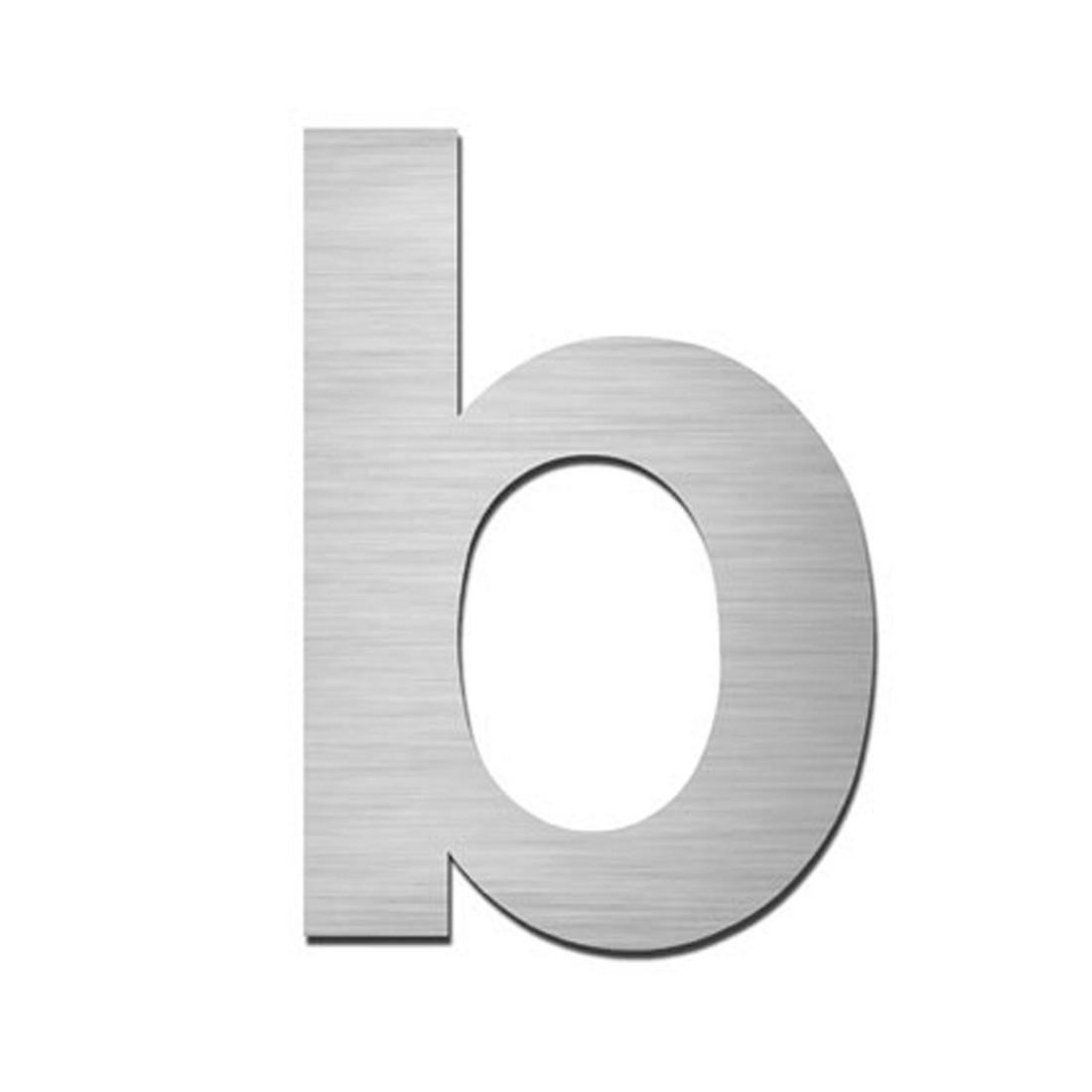 Hausnummer Index zum Aufkleben b - Matt Gebürstet Edelstahl Silber, Serafini