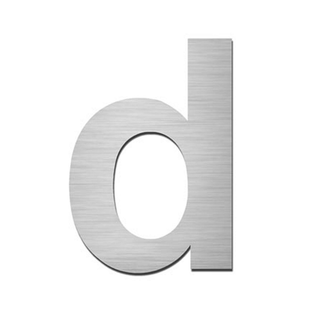 Hausnummer Index zum Aufkleben d - Matt Gebürstet Edelstahl Silber, Serafini