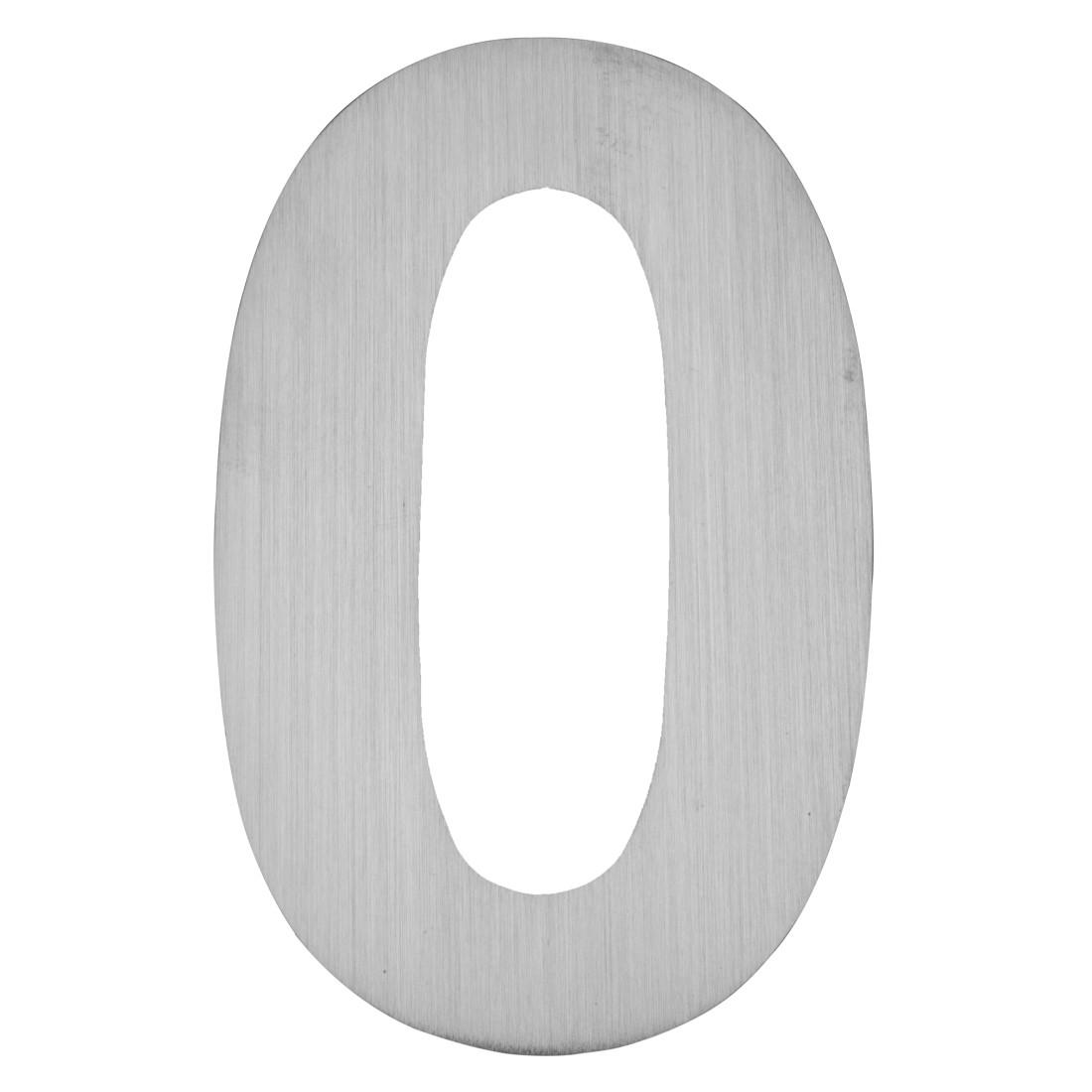 Hausnummer zum Aufkleben 0 - Matt Gebürstet Edelstahl Matt Gebürstet Silber, Serafini