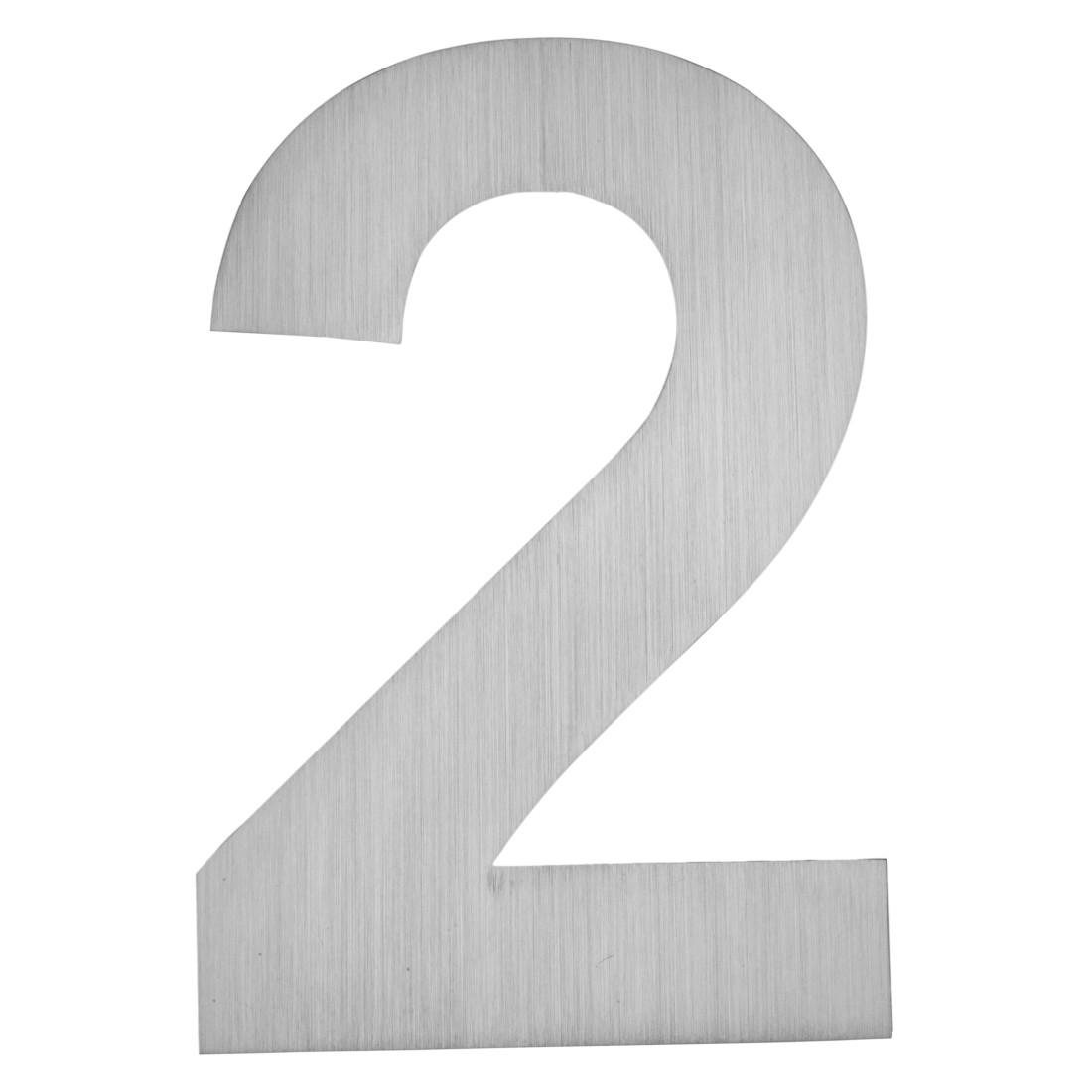 Hausnummer zum Aufkleben 2 - Matt Gebürstet Edelstahl Matt Gebürstet Silber, Serafini