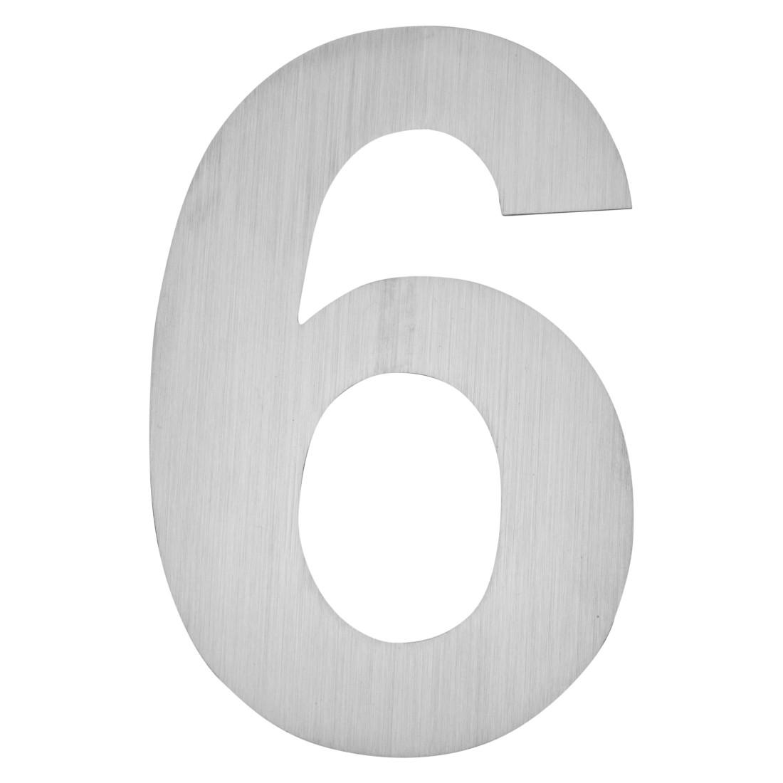 Hausnummer zum Aufkleben 6 - Matt Gebürstet Edelstahl Matt Gebürstet Silber, Serafini