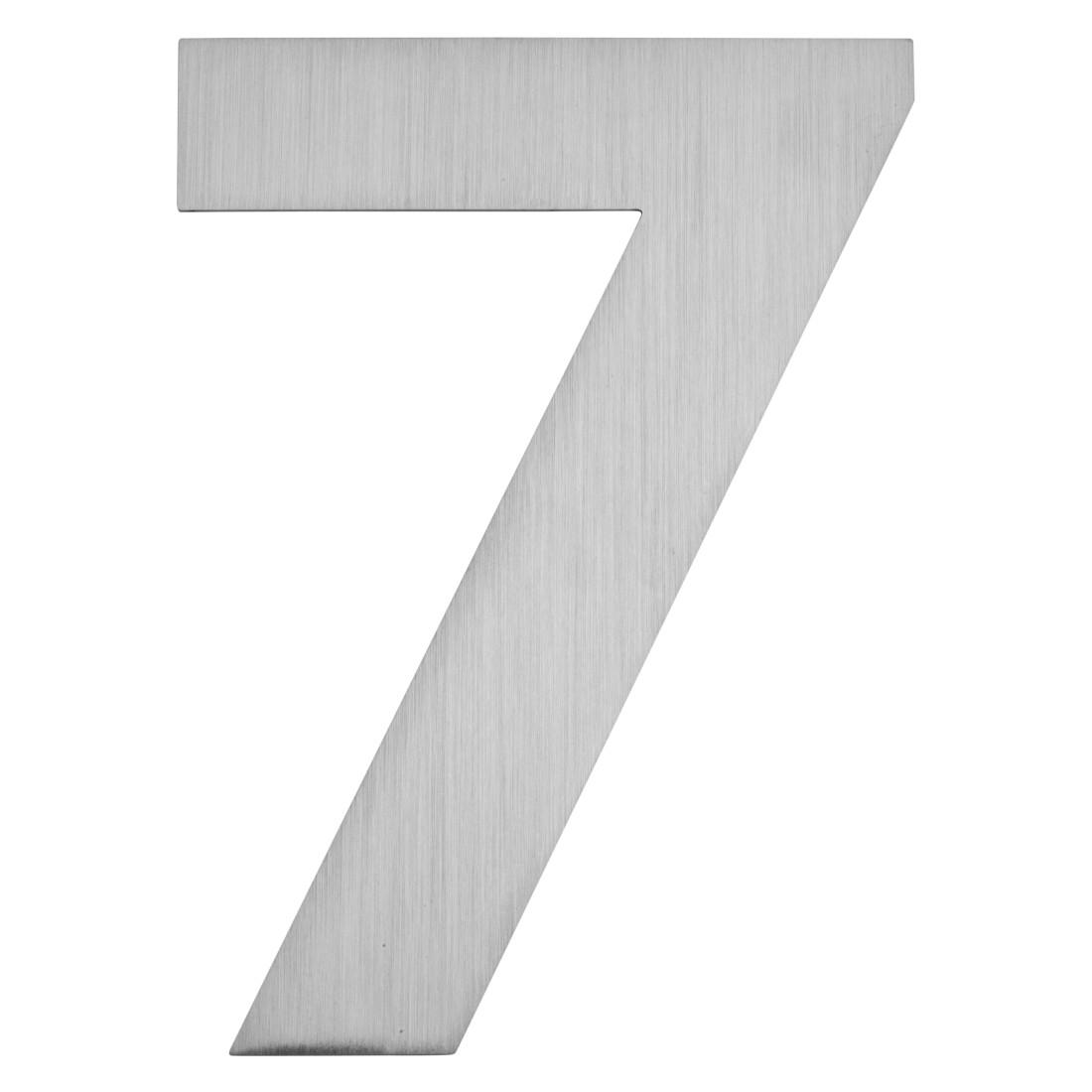 Hausnummer zum Aufkleben 7 - Matt Gebürstet Edelstahl Matt Gebürstet Silber, Serafini