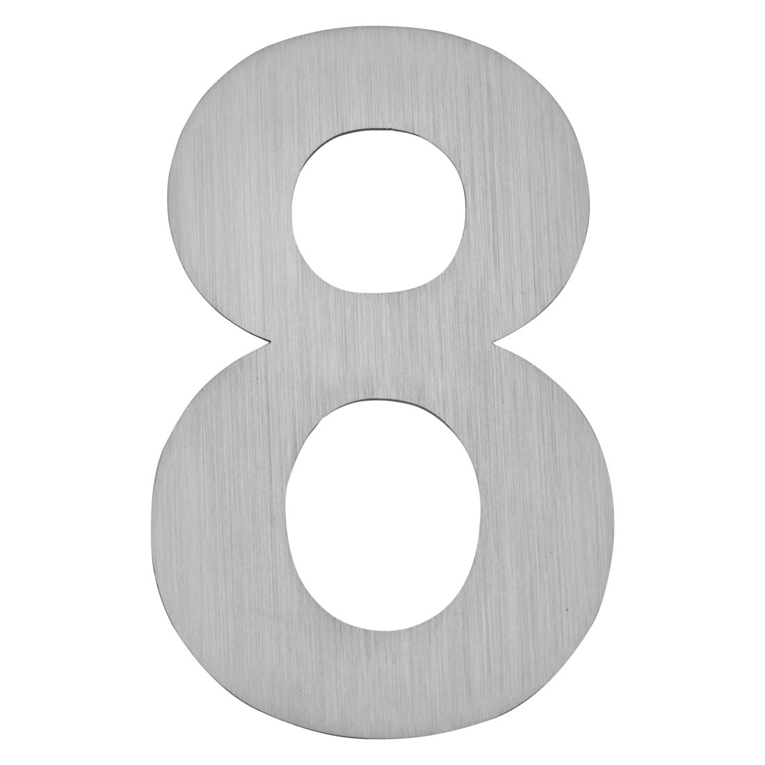 Hausnummer zum Aufkleben 8 - Matt Gebürstet Edelstahl Matt Gebürstet Silber, Serafini