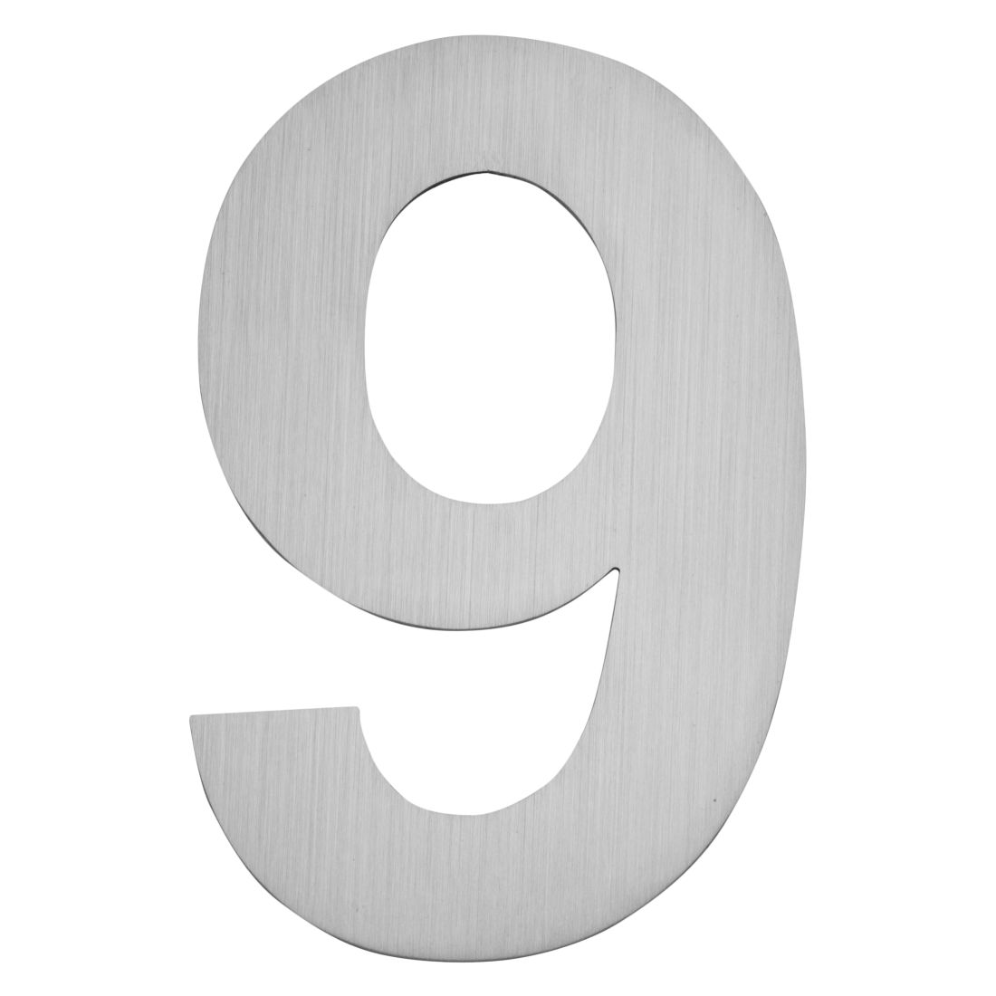 Hausnummer zum Aufkleben 9 - Matt Gebürstet Edelstahl Matt Gebürstet Silber, Serafini