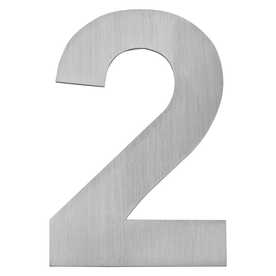 Hausnummer zum Aufschrauben 2 - Matt Gebürstet Edelstahl Matt Gebürstet Silber, Serafini