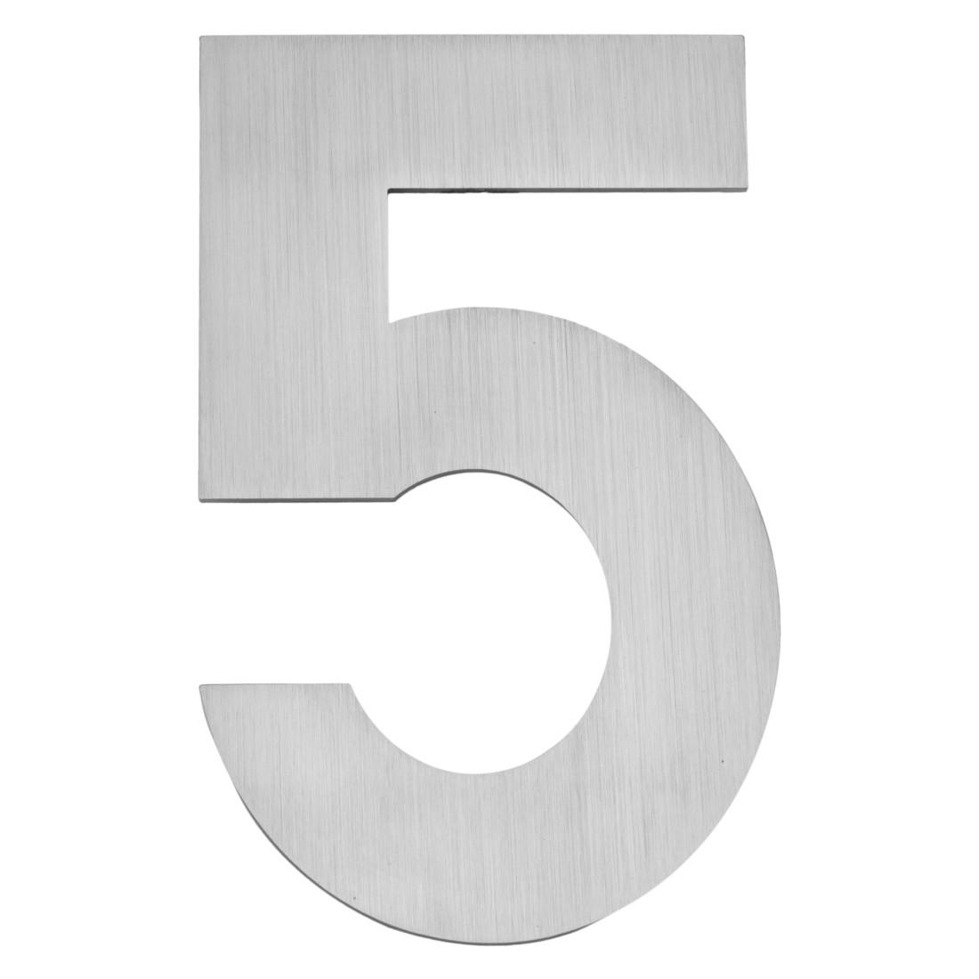 Hausnummer zum Aufschrauben 5 - Matt Gebürstet Edelstahl Matt Gebürstet Silber, Serafini