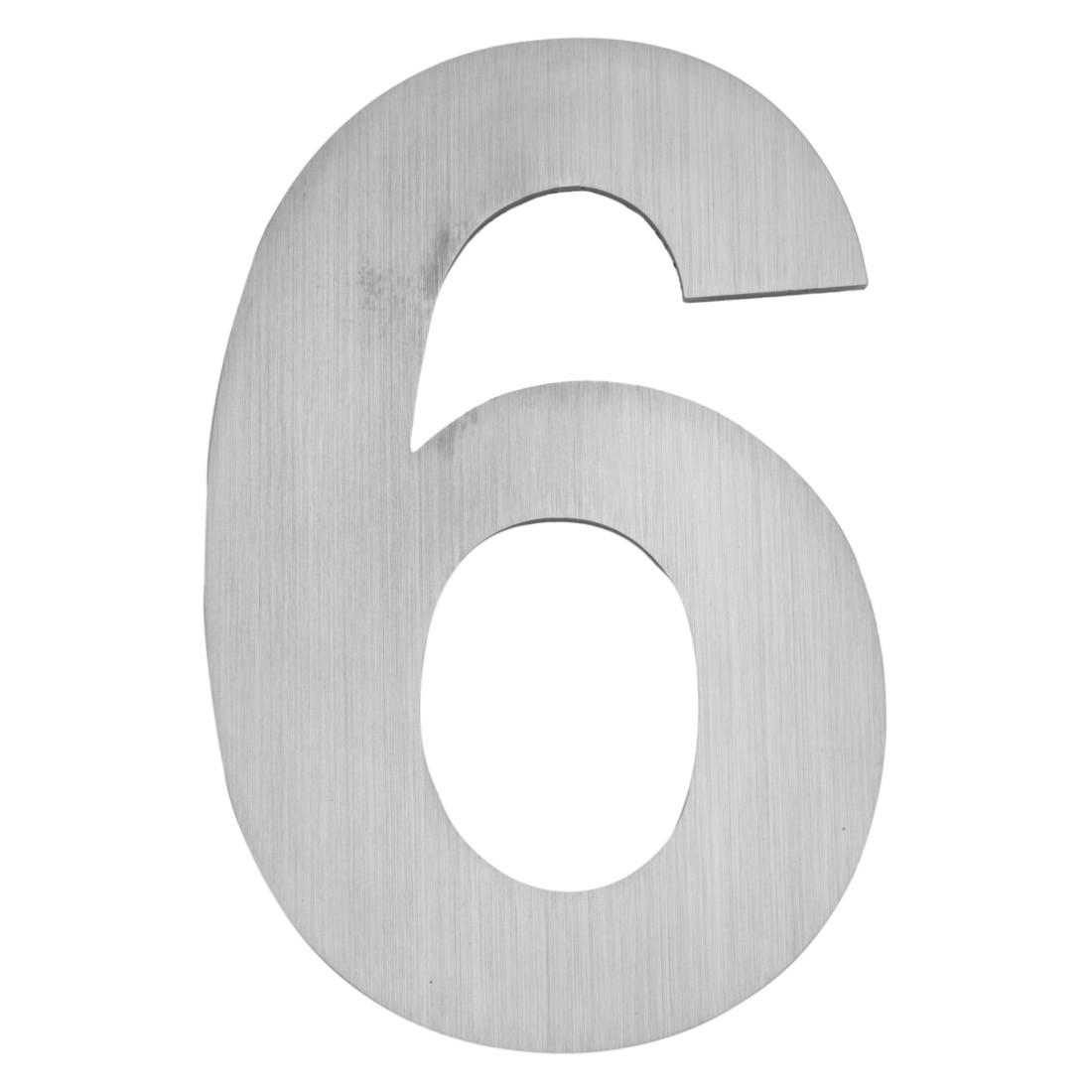 Hausnummer zum Aufschrauben 6 - Matt Gebürstet Edelstahl Matt Gebürstet Silber, Serafini