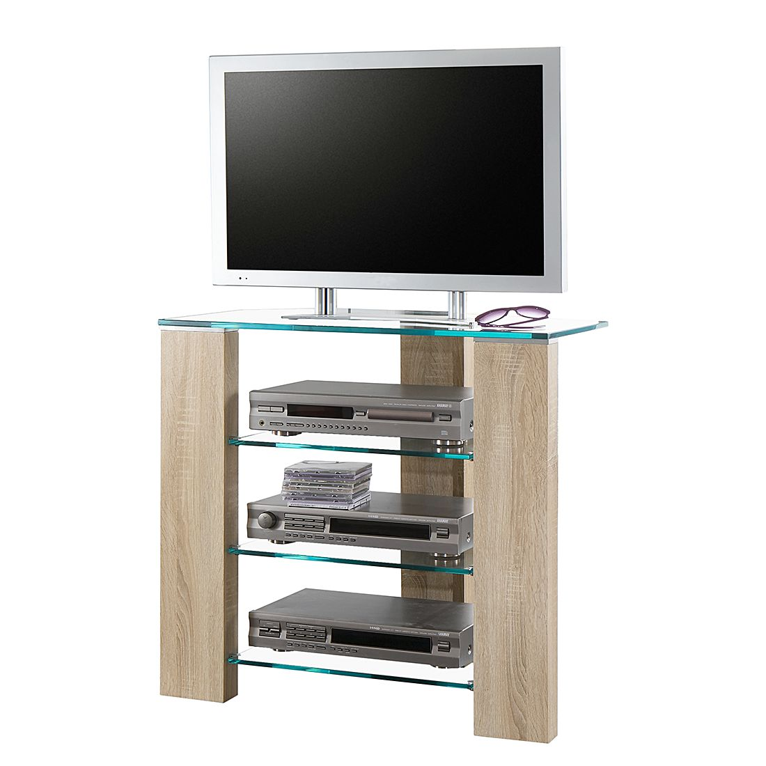 hifi rack amico eiche sonoma dekor glas bellinzona. Black Bedroom Furniture Sets. Home Design Ideas