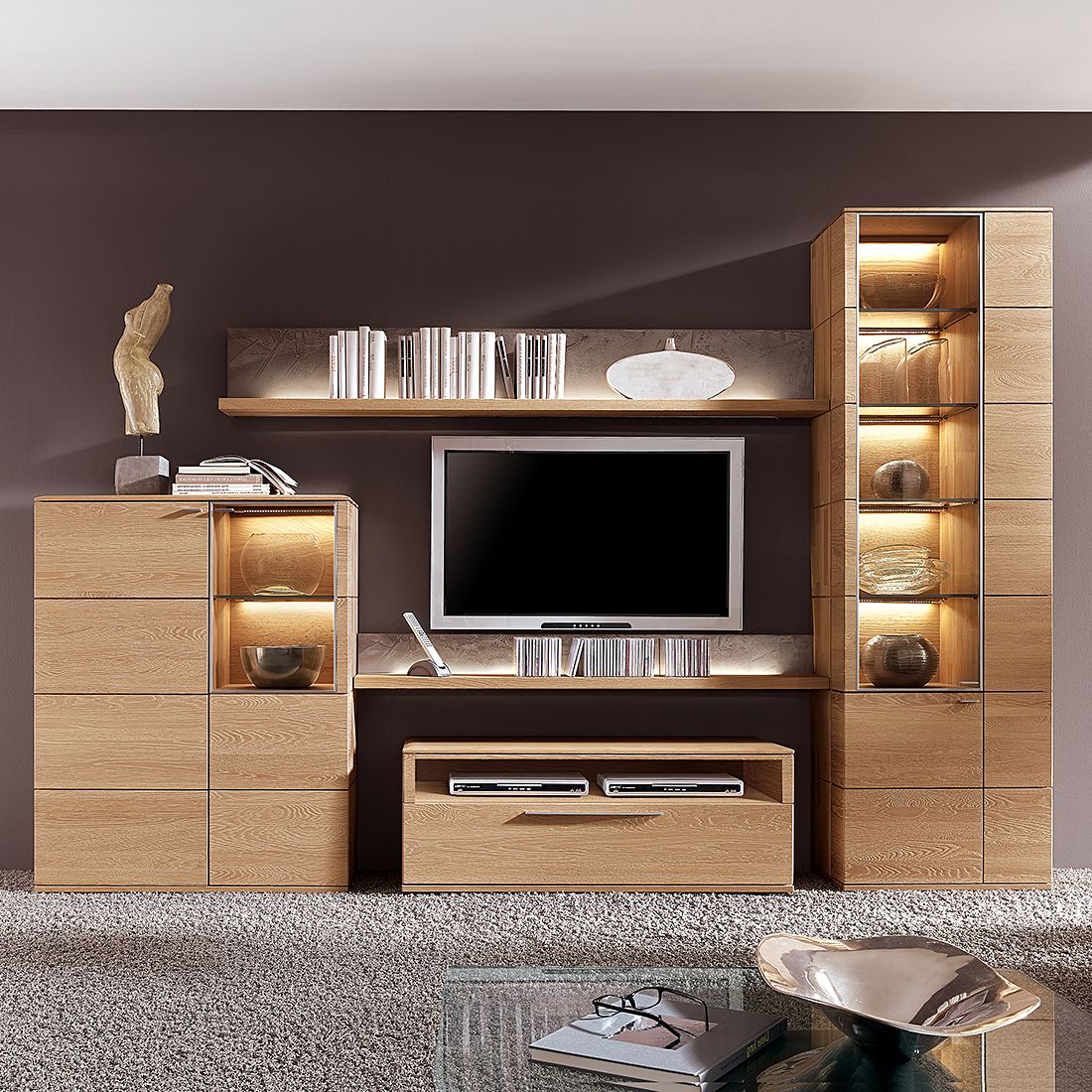 highboard alano ii eiche massiv ohne beleuchtung. Black Bedroom Furniture Sets. Home Design Ideas