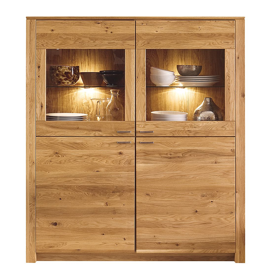 highboard chalet i eiche teilmassiv ge lt gewachst highboard ohne beleuchtung. Black Bedroom Furniture Sets. Home Design Ideas