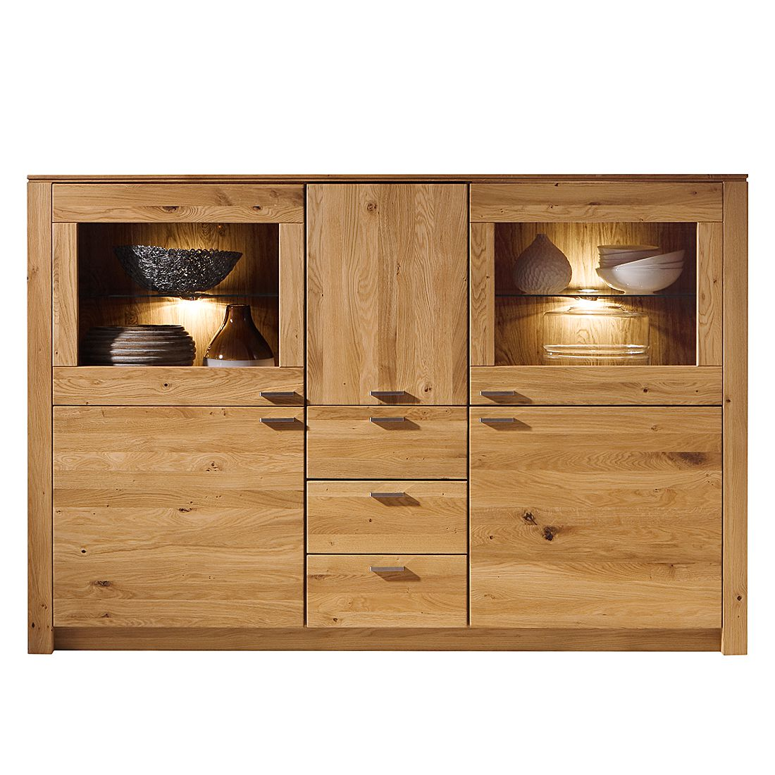 highboard chalet ii eiche teilmassiv ge lt gewachst highboard inklusive beleuchtung. Black Bedroom Furniture Sets. Home Design Ideas