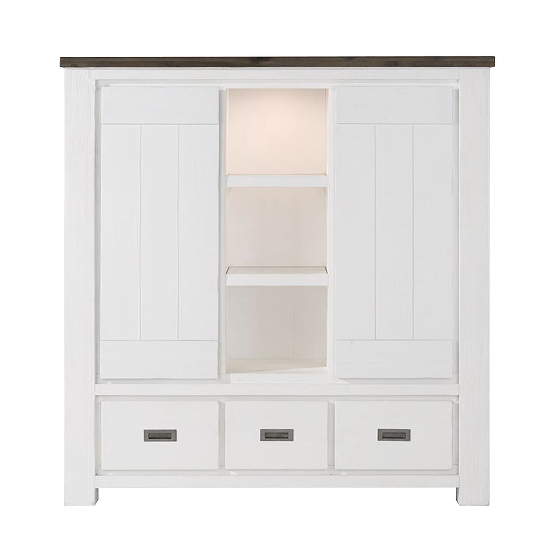 EEK A+, Highboard Deaumain - inklusive Beleuchtung - Akazie teilmassiv - Weiß, Habufa