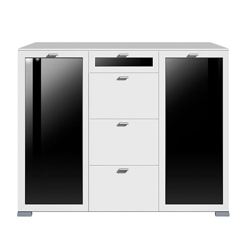 Highboard Gallery Plus - 2-türig/Glas/4 Schubladen/Mittig/oberste/Glas - schwarz/weiß
