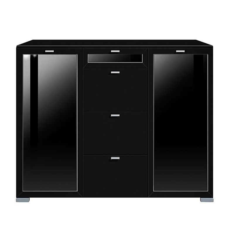 highboard gallery plus 2 t rig glas und 4 schubladen mittig oberste glas schwarz schrank. Black Bedroom Furniture Sets. Home Design Ideas