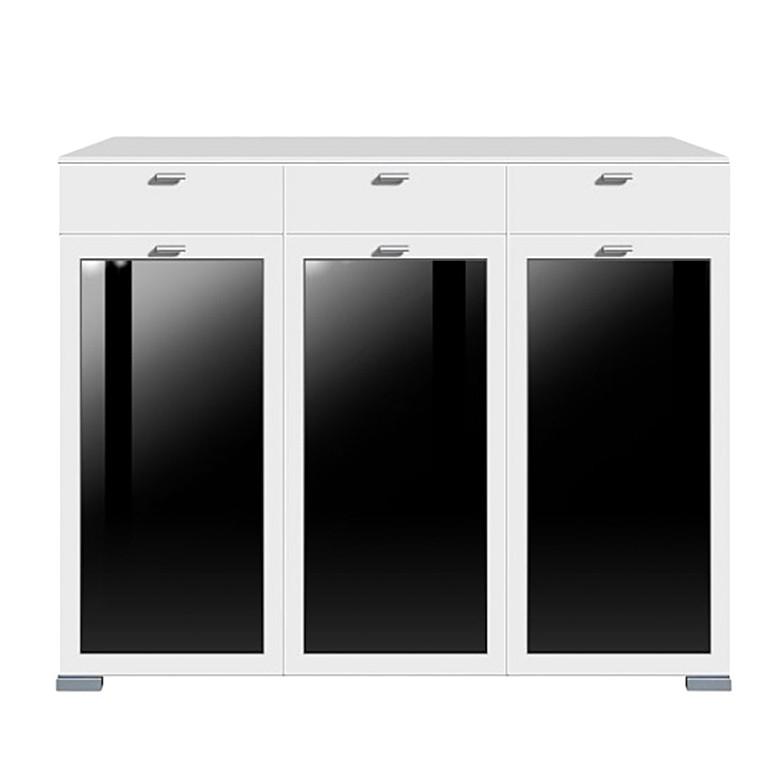 Kommode Gallery Plus - 3 Wandschränke / 3 Schubladen - schwarz ...