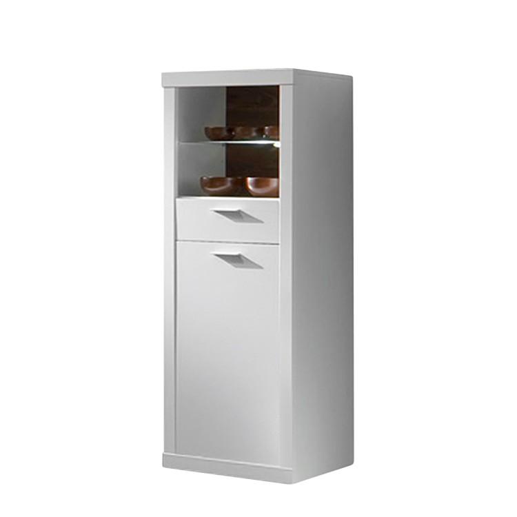 Highboard Joy - Weiß - 1 Tür/1 Schublade (Joy Highboard - Weiß - mit 1 Tür und 1 Schublade)