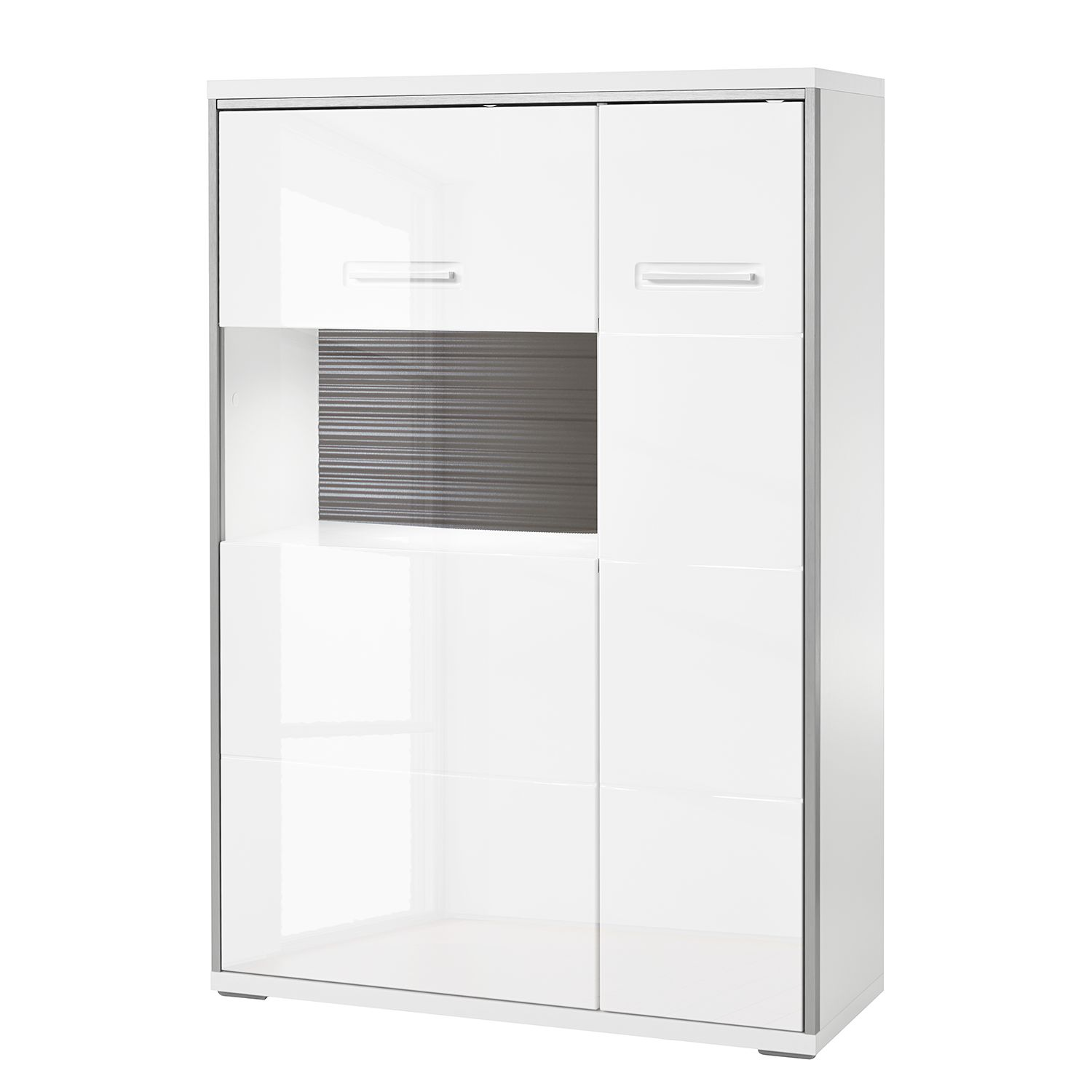 Highboard Kushiro II - Hochglanz Weiß / Grau - Glastür links, Modoform