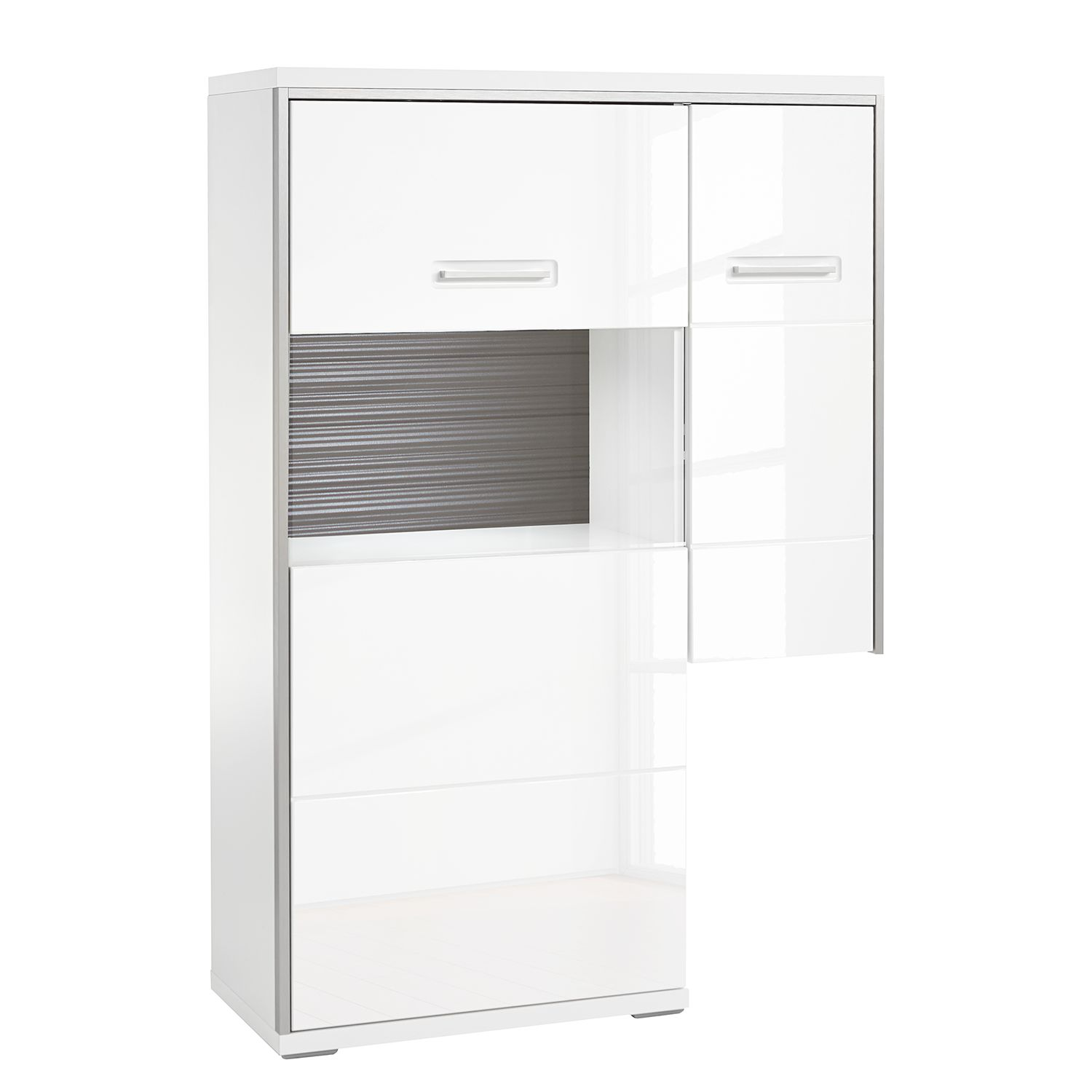 Highboard Kushiro III - Hochglanz Weiß / Grau - Glastür links, Modoform