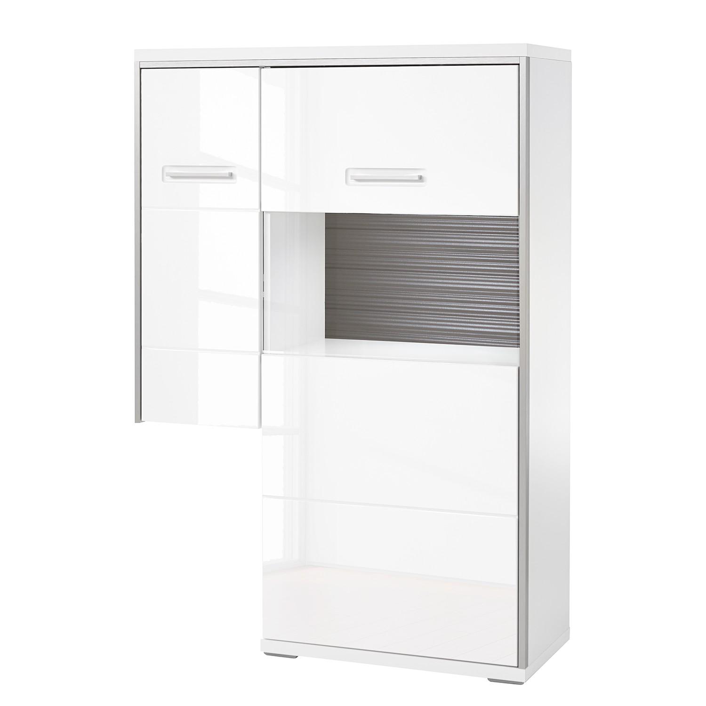 Highboard Kushiro III - Hochglanz Weiß / Grau - Glastür rechts, Modoform