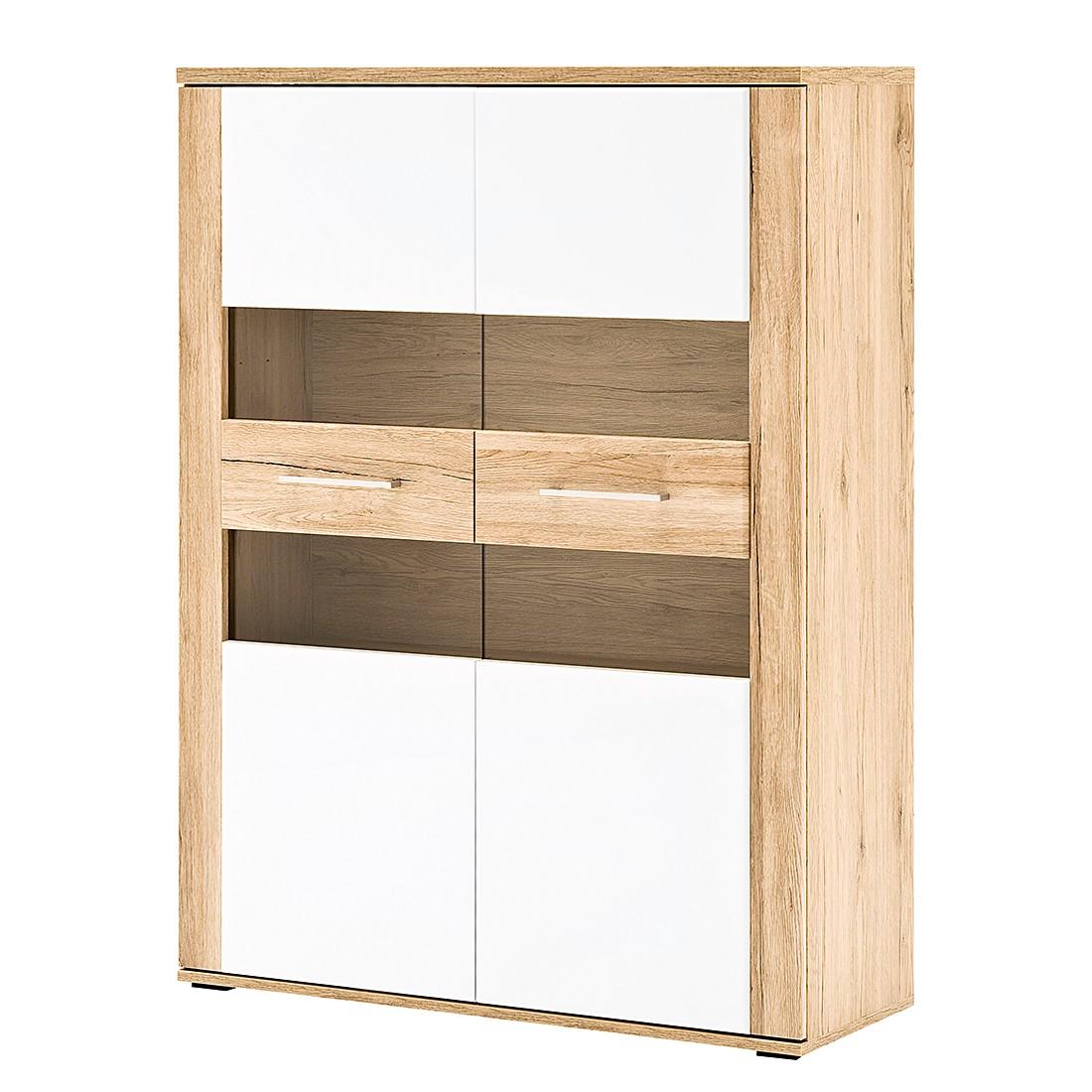 EEK A+, Highboard Matira – Hochglanz Weiß/Sand, Modoform kaufen