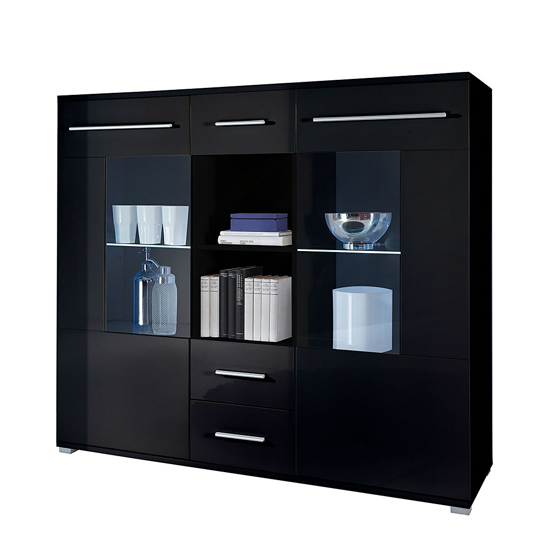 highboard mert schwarz hochglanz. Black Bedroom Furniture Sets. Home Design Ideas