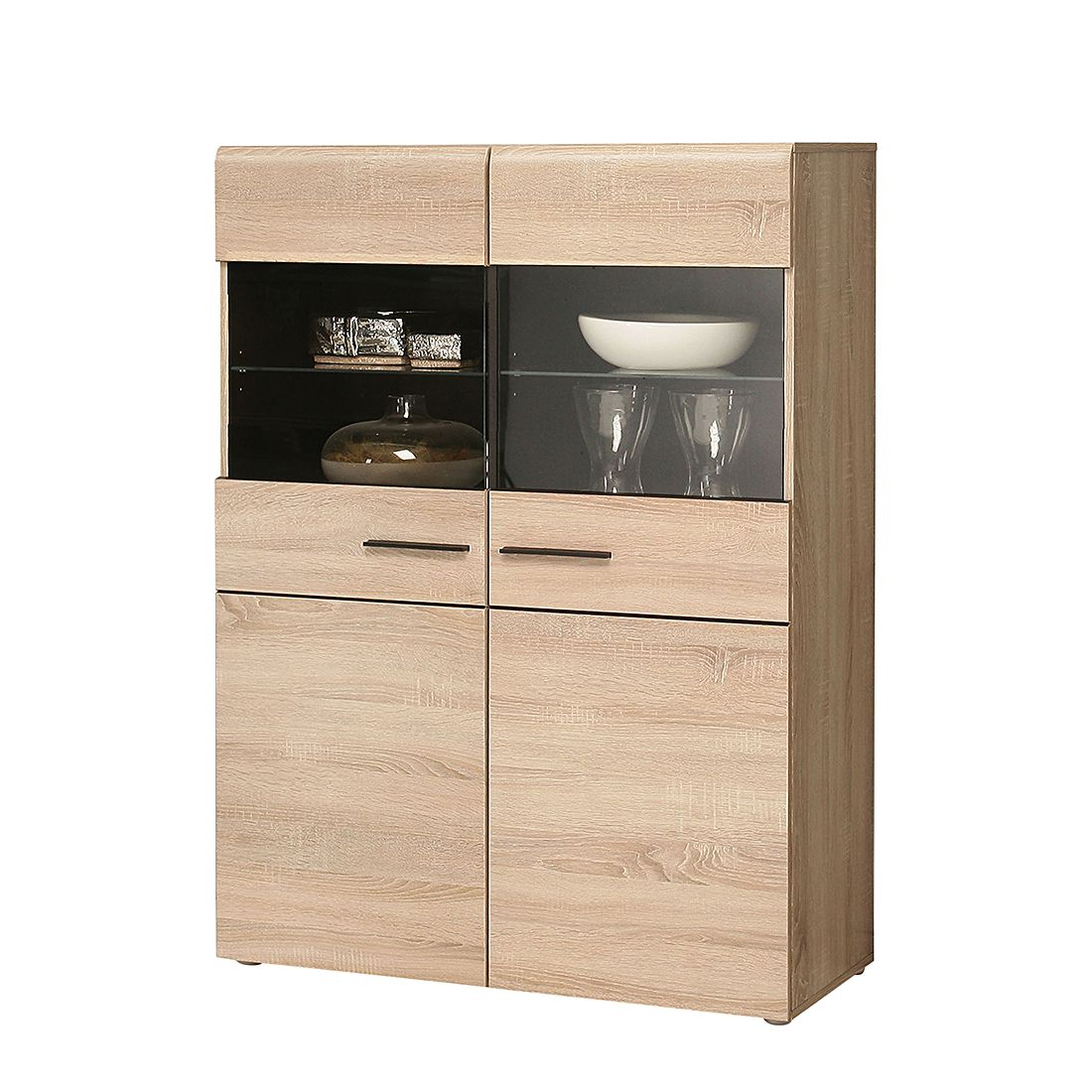highboard nashville ii eiche dekor ohne beleuchtung california bestellen. Black Bedroom Furniture Sets. Home Design Ideas