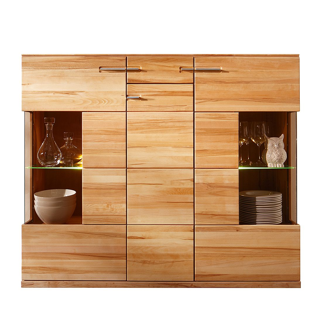 highboard oregon kernbuche massiv ge lt gewachst highboard ohne beleuchtung schrank. Black Bedroom Furniture Sets. Home Design Ideas