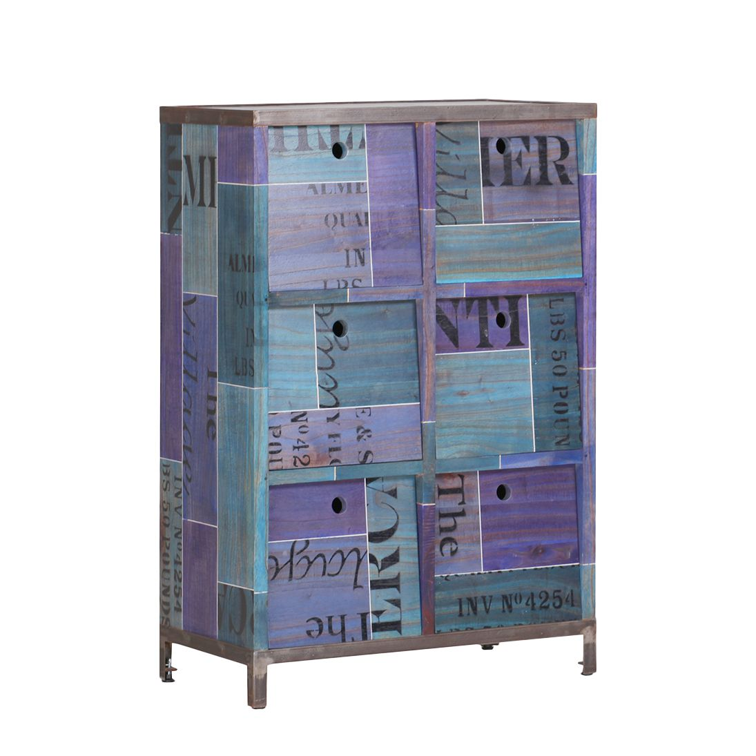 Highboard Paint - Mindi massiv - Blau