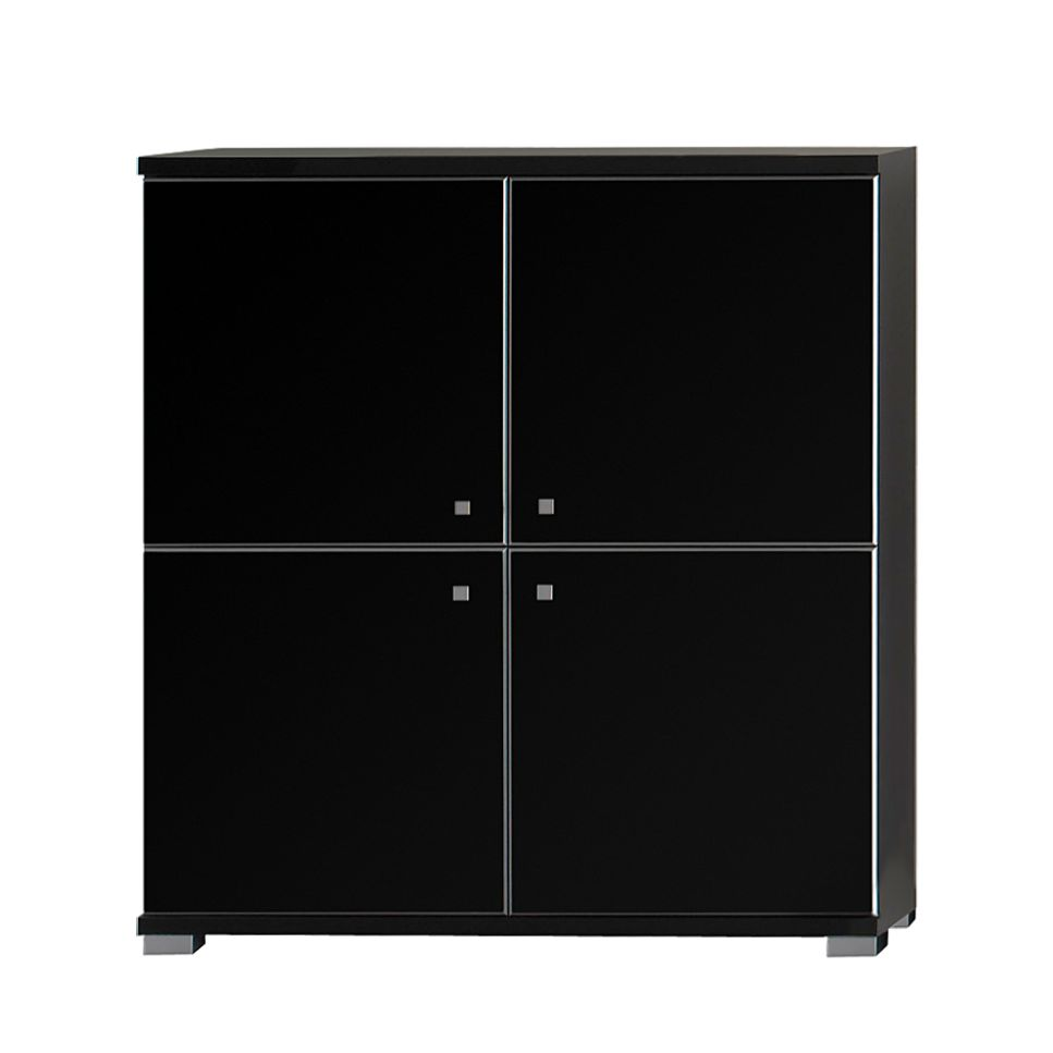 highboard pirlo schwarz hochglanz schwarz matt 90cm breit. Black Bedroom Furniture Sets. Home Design Ideas