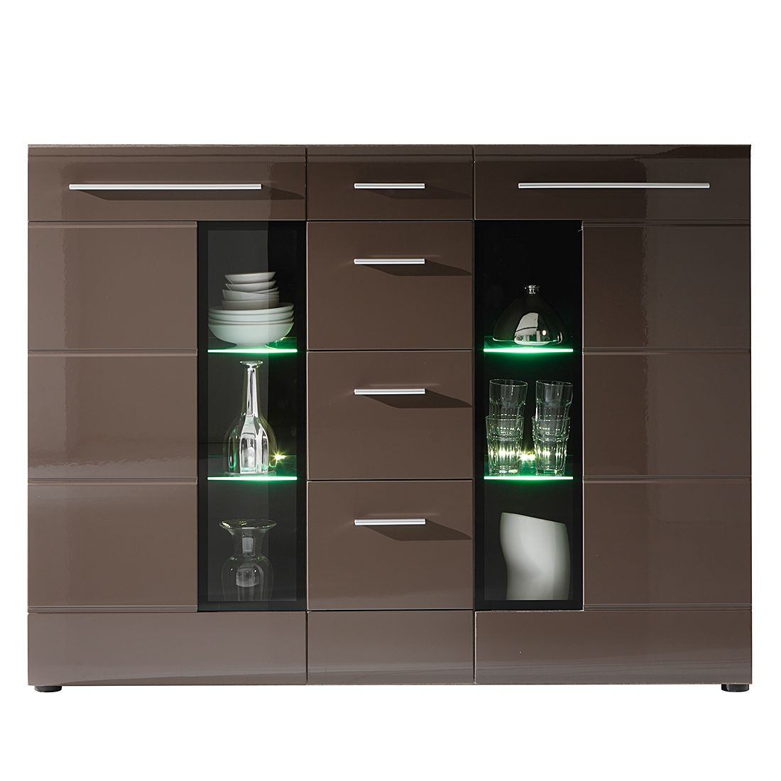 highboard storm i eiche s gerau dunkel black brown hochglanz. Black Bedroom Furniture Sets. Home Design Ideas