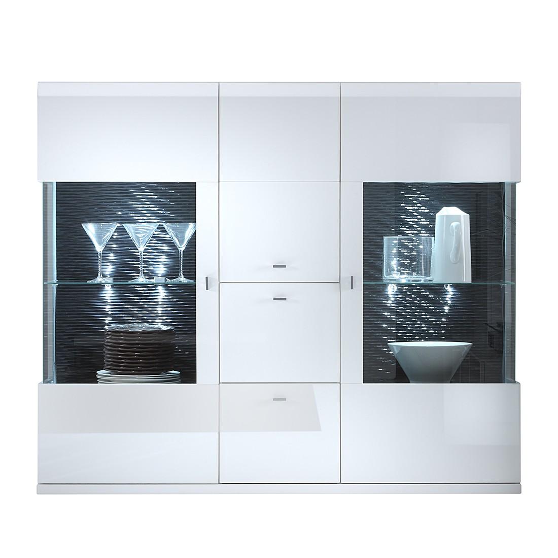 highboard tesseo hochglanz wei absetzung schwarz highboard ohne beleuchtung schrank. Black Bedroom Furniture Sets. Home Design Ideas
