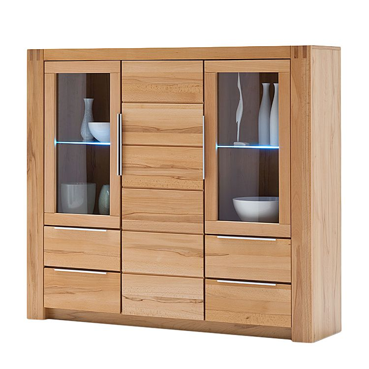 Highboard vigas i buche massiv lackiert for Schrank gunstig