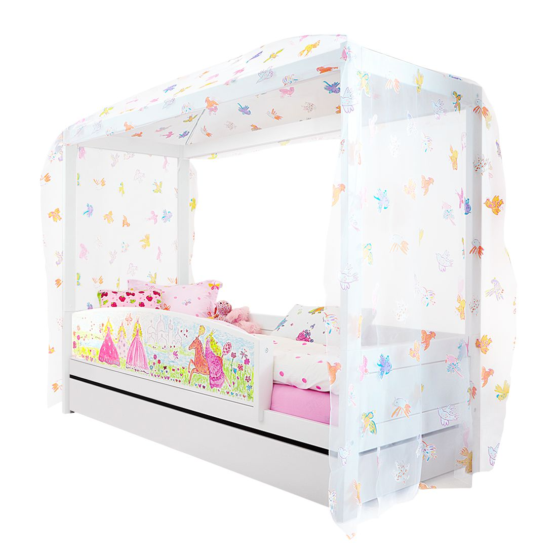 Himmelbett Princess Lifetime Original - Kiefer teilmassiv - Weiß - Mit Rollrost, Lifetime Kidsrooms