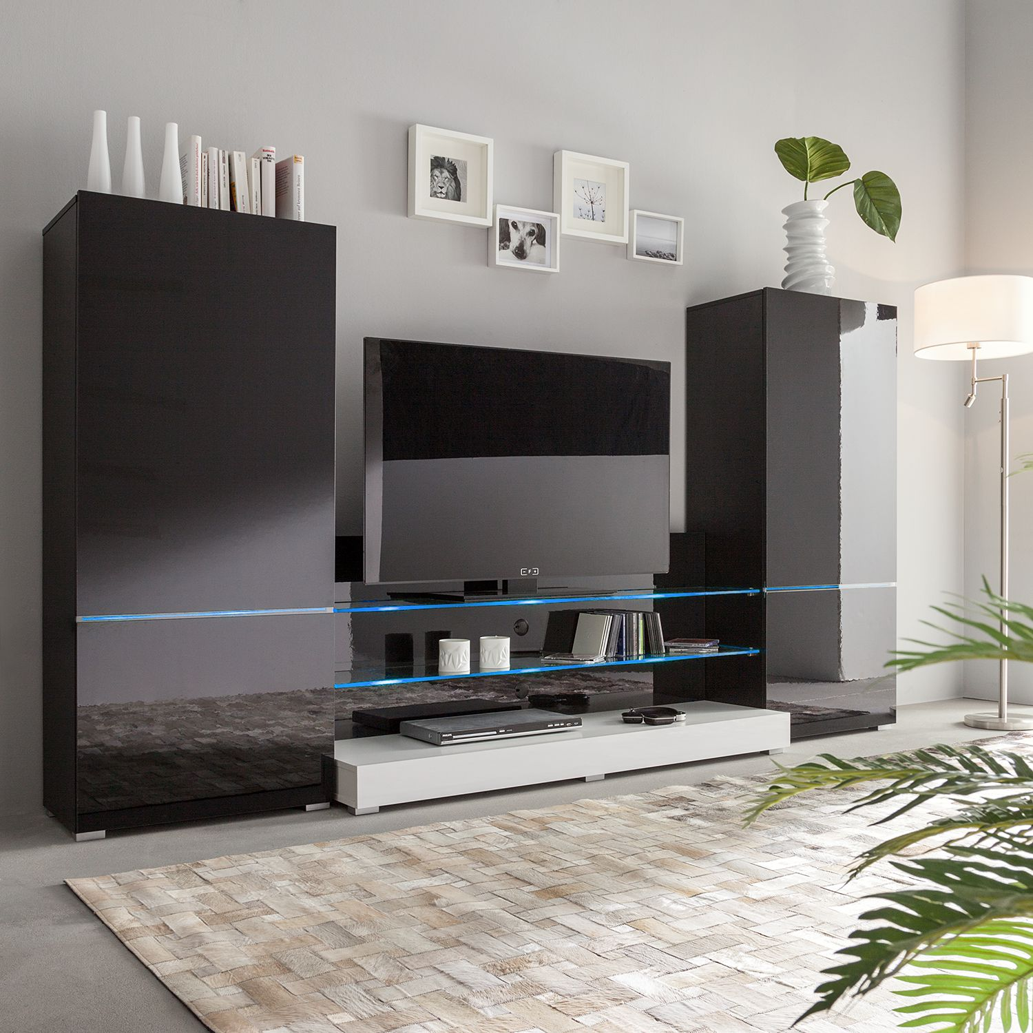wohnwand modern g nstig kaufen. Black Bedroom Furniture Sets. Home Design Ideas