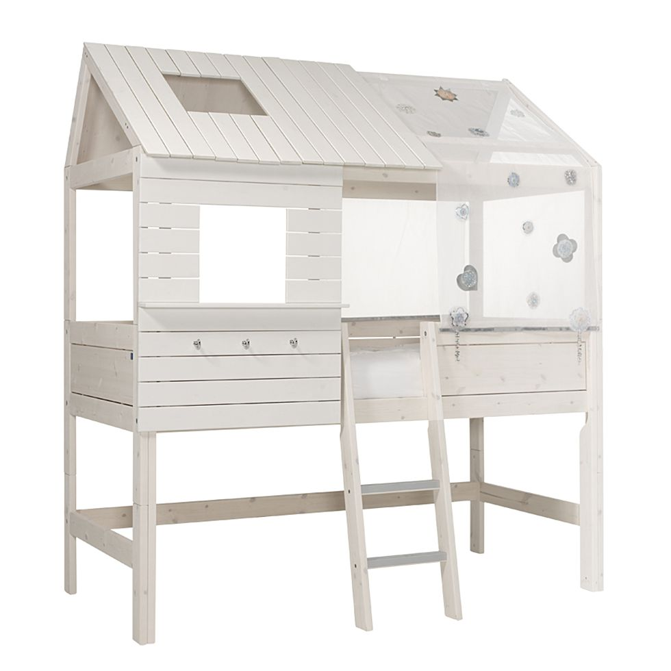 Hochbett Hütte Lifetime Original - Kiefer massiv - Whitewash - Inkl. Deluxe Lattenrost & Markise, Lifetime Kidsrooms
