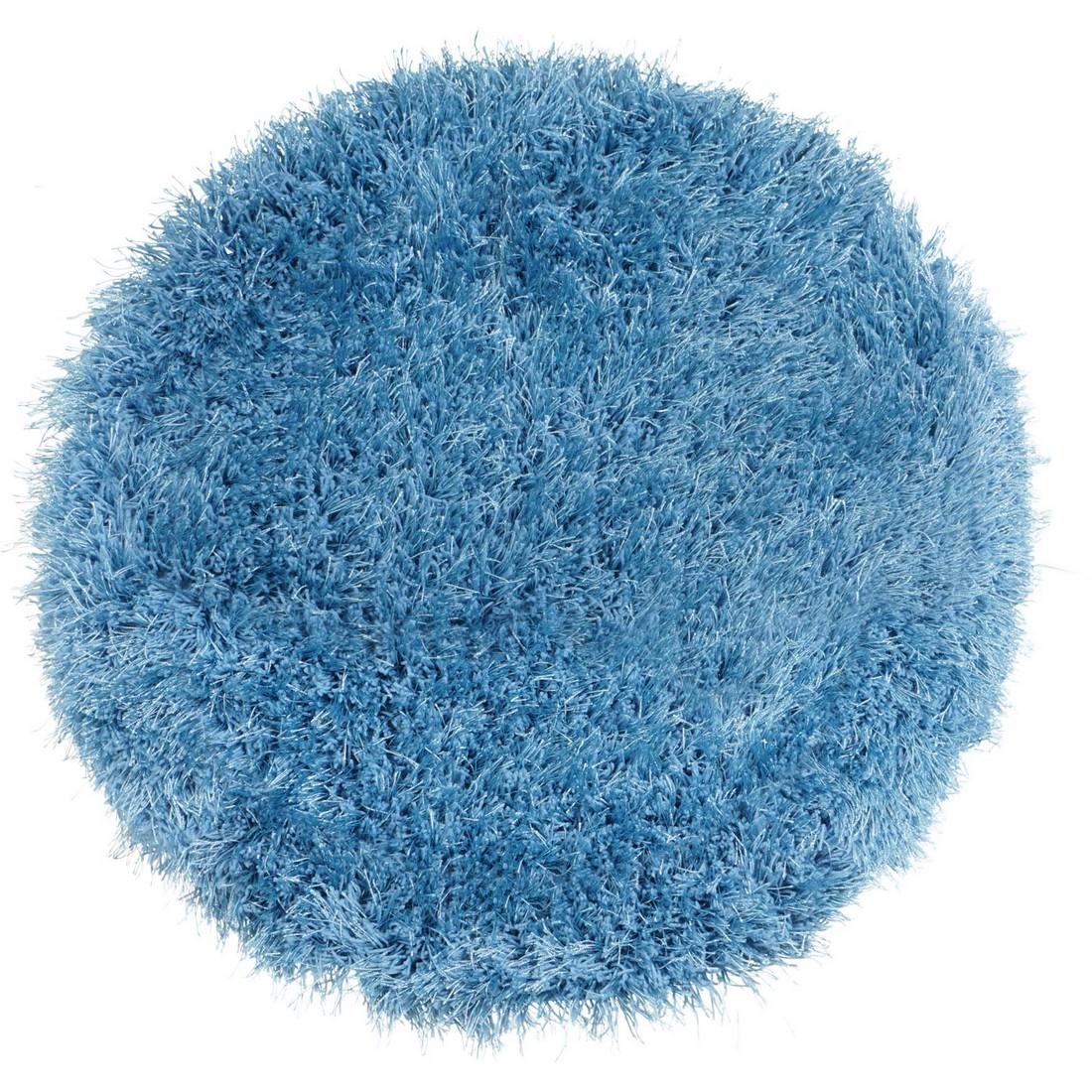 Hochflorteppich Jersey Blau- rund – Durchmesser: ø 200 cm, benuta günstig bestellen
