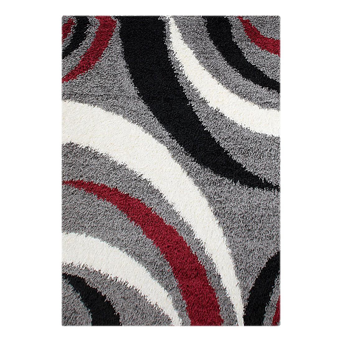 Hochflorteppich Neapel Linien – Grau/Rot – 160 x 230 cm, Testil günstig kaufen